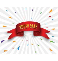 Super sale banner ribbon vector