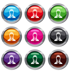 support phone operator in headset set 9 collection vector image