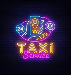 taxi service neon signboard taxi online vector image