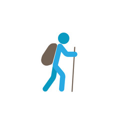 Tourist backpacker flat icon travel tourism vector