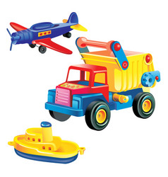 Transport infrastructure concept - toy ship truck vector