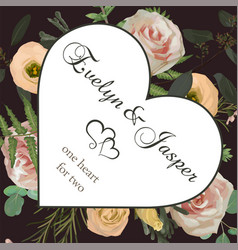 valentine greeting invite card with flower and vector image
