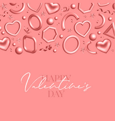 valentines day background decorated 3d coral vector image