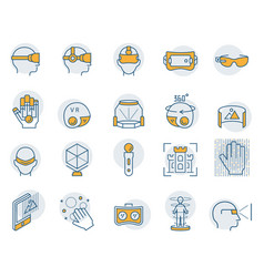 virtual reality icon set in thin line style vector image