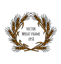 Wheat rye frame wreath isolate object vector