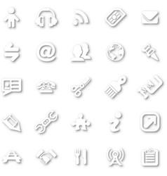 white minimalist icon set vector image
