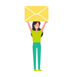 Woman holding yellow envelope above head vector