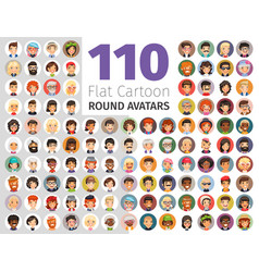 flat cartoon round avatars big collection vector image