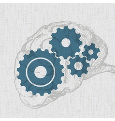 human brain with cogs vector image