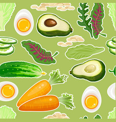 vegetables seamless pattern carrot cucumber vector image