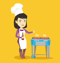 woman cooking steak on barbecue grill vector image vector image