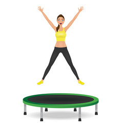 young woman jumping on trampoline pretty fit girl vector image