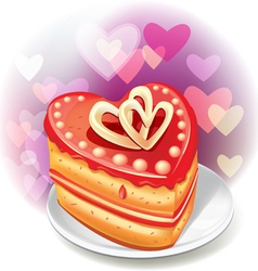 heart-shaped cake vector image vector image