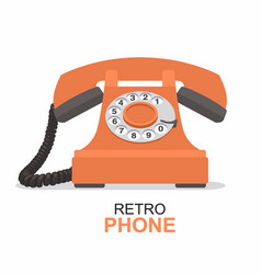 orange vintage telephone isolated on white vector image