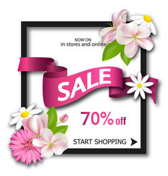 sale background with pink ribbon and flowers vector image