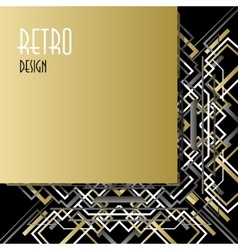 Background with golden silver black art deco vector image
