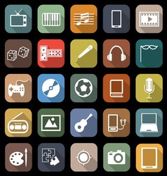Entertainment flat icons with long shadow vector image vector image