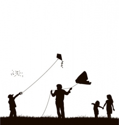 family flying kite vector image vector image