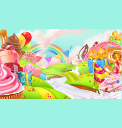 happy holiday cupcake gift box sweet landscape 3d vector image vector image