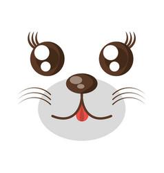 Kawaii face animal expression icon vector