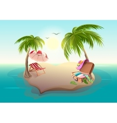 Tropical island and palm trees in blue sea vector image vector image