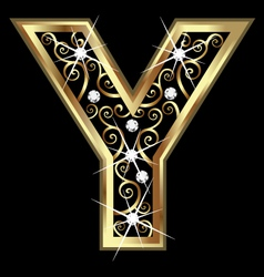 Y gold letter with swirly ornaments vector image