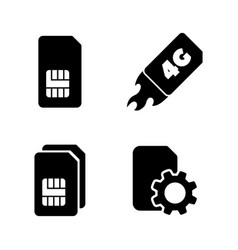 4g sim card simple related icons vector