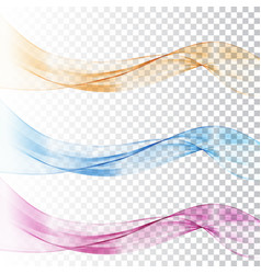 abstract blue and pink wave set on transparent vector image