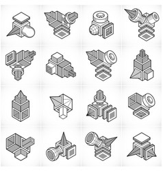 abstract three dimensional shapes set designs vector image