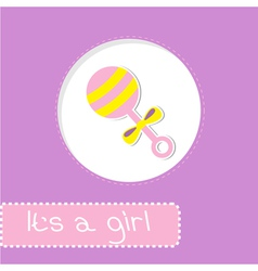 Baby girl rattle Shower card vector image
