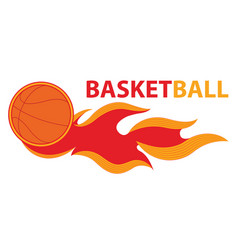 Basketball sport comet fire tail flying logo vector