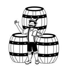 bavarian man with beer barrels vector image