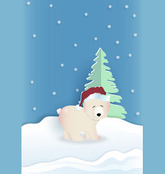Bear wearing red hat with green pine tree on blue vector