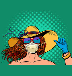 beautiful woman in a medical mask vector image