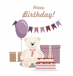 birthday card with teddy bear cake and gifts vector image