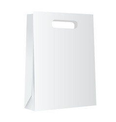 blank white paper shopping bag mockup on white vector image