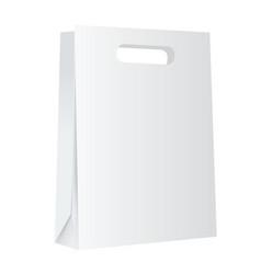Blank white paper shopping bag mockup on white vector