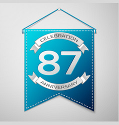 Blue pennant with inscription eighty seven years vector
