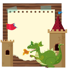 border template with green dragon vector image