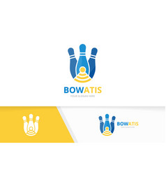 Bowling and wifi logo combination game and vector