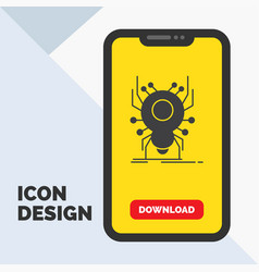 Bug insect spider virus app glyph icon in mobile vector