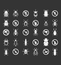 bugs icon set grey vector image
