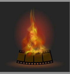 burning stripe with fire flame vector image