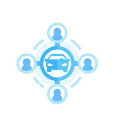 Carsharing icon on white in flat style vector