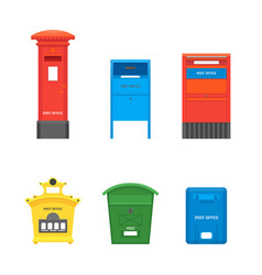 cartoon color mail box set post concept vector image