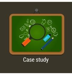 case study studies icon flat laptop magnifier vector image