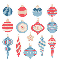 christmas tree toys on white background set vector image