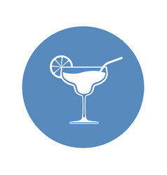 cocktail wineglass icon placed in blue circle vector image