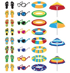 colored beach icons vector image