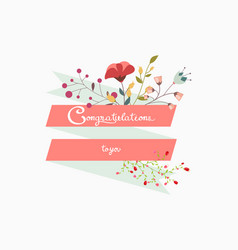 Congratulations lettering decoration with flower vector